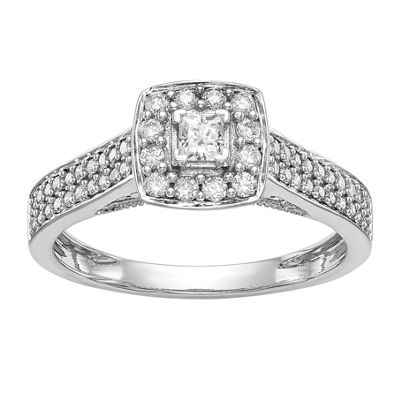 Promise My Love Womens 3/8 CT. T.W. Genuine White Diamond 14K White Gold Round Promise Ring