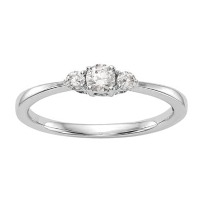 Promise My Love Womens 1/4 CT. T.W. Genuine White Diamond 14K White Gold Round Promise Ring