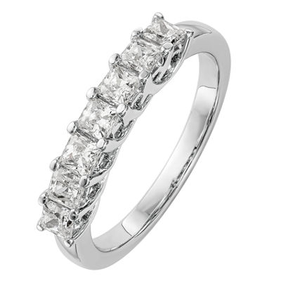 Womens 2mm 1 CT. T.W. Genuine White Diamond 14K White Gold Round Wedding Band