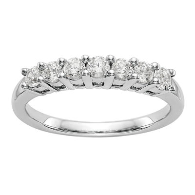 Womens 2MM 1/2 CT. T.W. Genuine White Diamond 14K White Gold Round Wedding Band
