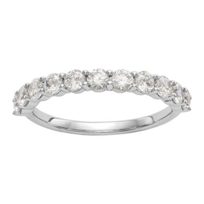 Womens 2mm 1 CT. T.W. Genuine White Diamond 14K White Gold Round Wedding Band