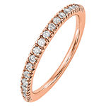 Womens 2MM 1/4 CT. T.W. Genuine White Diamond 14K Rose Gold Round Wedding Band