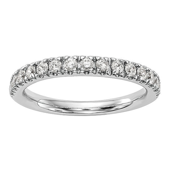 Womens 2MM 1/2 CT. T.W. Genuine White Diamond 14K White Gold Round Wedding Band