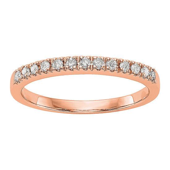 Womens 2MM 1/5 CT. T.W. Genuine White Diamond 14K Rose Gold Round Wedding Band