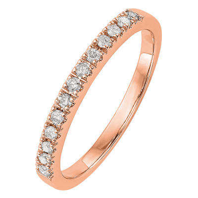 Womens 2MM 1/5 CT. T.W. Genuine White Diamond 14K Rose Gold Round Wedding Band