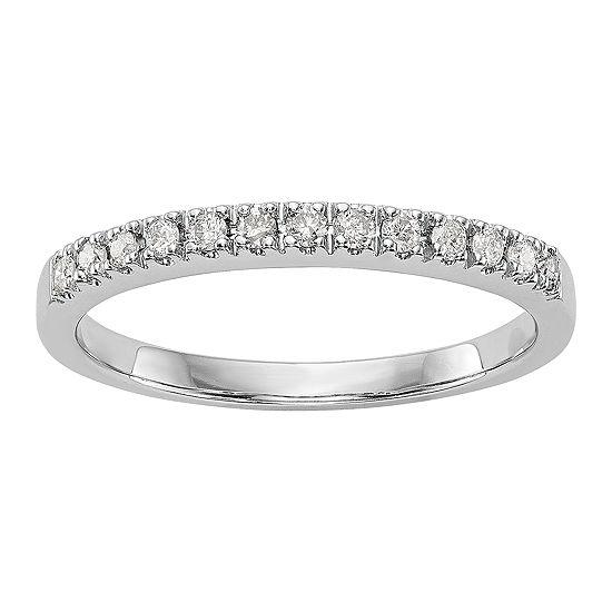 Womens 2MM 1/5 CT. T.W. Genuine White Diamond 14K White Gold Round Wedding Band