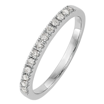 Womens 2mm 1/5 CT. T.W. Genuine White Diamond 14K White Gold Round Wedding Band
