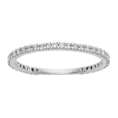 Womens 1/3 CT. T.W. Genuine White Diamond 14K White Gold Round Wedding Band