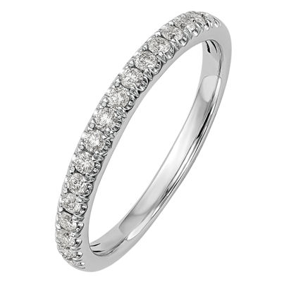 Womens 2mm 3/8 CT. T.W. Genuine White Diamond 14K White Gold Round Wedding Band