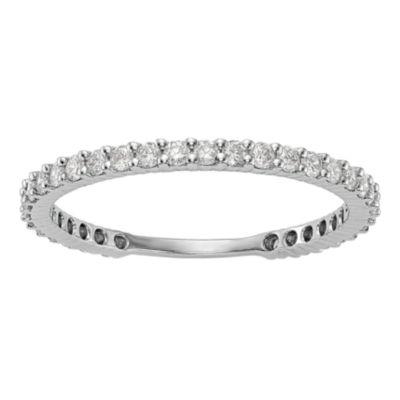 Womens 2mm 3/8 CT. T.W. Genuine White Diamond 14K White Gold Round Wedding Band