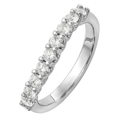 Womens 2.5mm 7/8 CT. T.W. Genuine White Diamond 14K White Gold Round Wedding Band