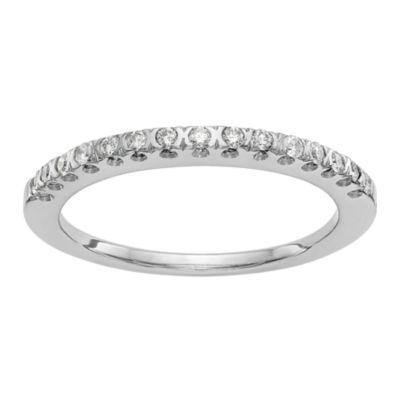 Womens 1/6 CT. T.W. Genuine White Diamond 14K White Gold Round Wedding Band