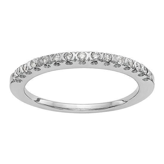 1/6 CT. T.W. Genuine White Diamond 14K White Gold Round Wedding Band
