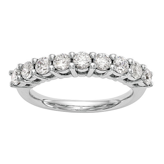 Womens 2MM 1/3 CT. T.W. Genuine White Diamond 14K White Gold Round Wedding Band