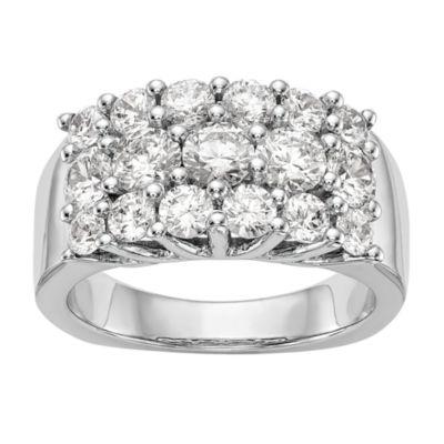 Womens 3mm 2 CT. T.W. Genuine White Diamond 14K White Gold Round Wedding Band