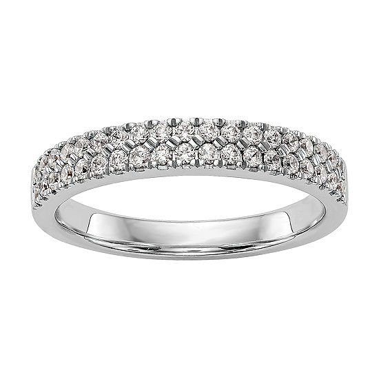 Womens 2.5MM 3/8 CT. T.W. Genuine White Diamond 14K White Gold Round Wedding Band