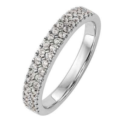 Womens 2.5mm 3/8 CT. T.W. Genuine White Diamond 14K White Gold Round Wedding Band
