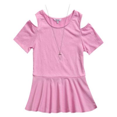 Obsess Round Neck Short Sleeve Cold Shoulder Sleeve Blouse - Big Kid Girls
