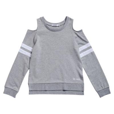 Obsess Round Neck Long Sleeve Cold Shoulder Sleeve Blouse - Big Kid Girls