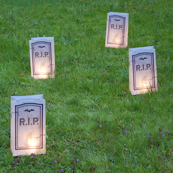 Battery Operated Luminaria Kit with Timer- Tombstone (6 Count)