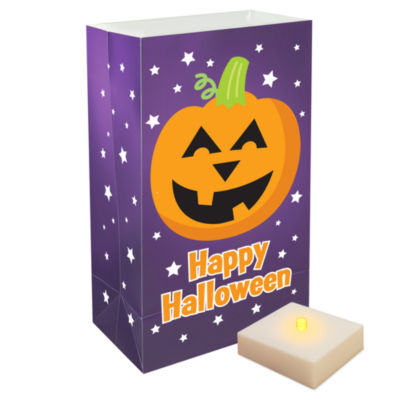 Battery Operated Luminaria Kit with Timer- Pumpkin, Set of 6