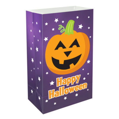 Plastic Luminaria Bags- Pumpkin, Set of 12