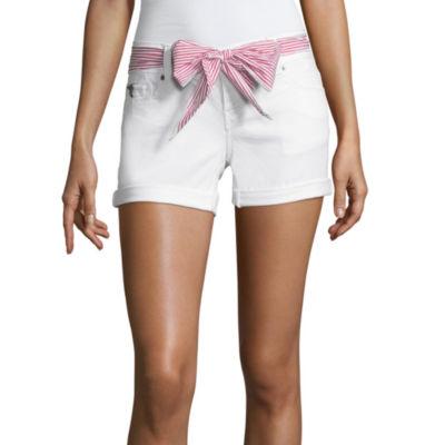 """U.S. Polo Assn. 3 1/2"""" Belted Denim Shorts-Juniors"""