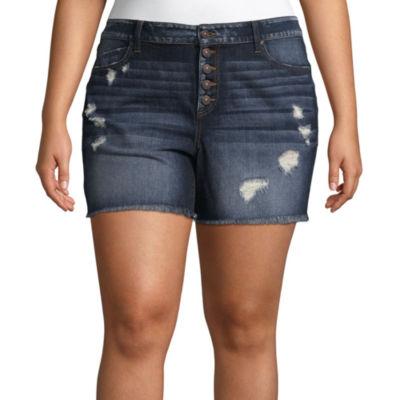 "Rewash 4"" Button Fly Denim Shorts-Juniors Plus"