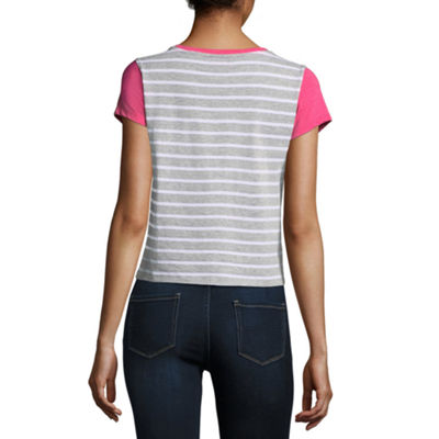 Us Polo Assn. Short Sleeve Round Neck Stripe T-Shirt-Womens Juniors
