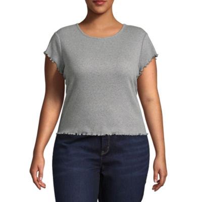 Arizona Short Sleeve Round Neck T-Shirt-Womens Juniors Plus