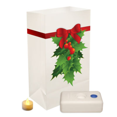 Battery Operated Luminaria Kit- Holly  Set of 12