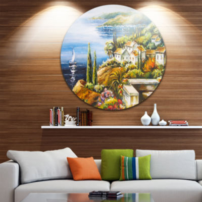 Design Art Sailing Boat Remote View Disc SeascapeCircle Metal Wall Art
