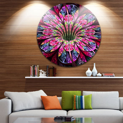Design Art Pink Blue Colorful Flower Floral CircleMetal Wall Art