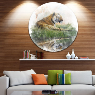 Design Art Relaxing Tiger Animal Metal Circle WallArt