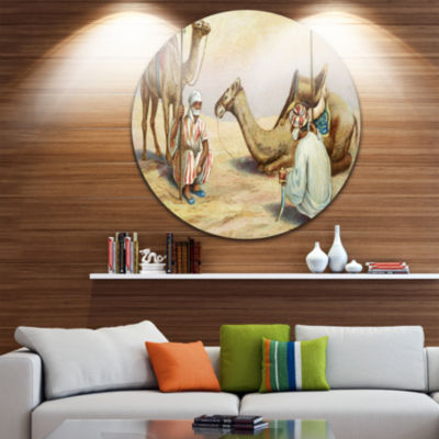 Design Art Old Colonial Illustration Disc Contemporary Circle Metal Wall Art