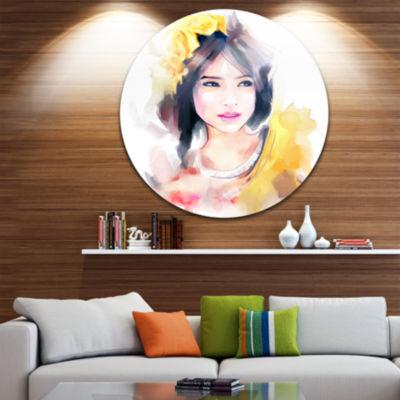 Design Art Portrait of Beautiful Girl Disc Contemporary Artwork on Circle Metal Wall Art