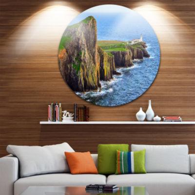 Design Art Rocky Ocean Coastline Scotland Disc Photography Circle Metal Wall Art