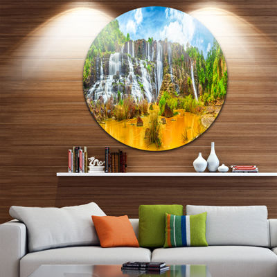 Design Art Pongour Waterfall Disc Landscape Photography Circle Metal Wall Art