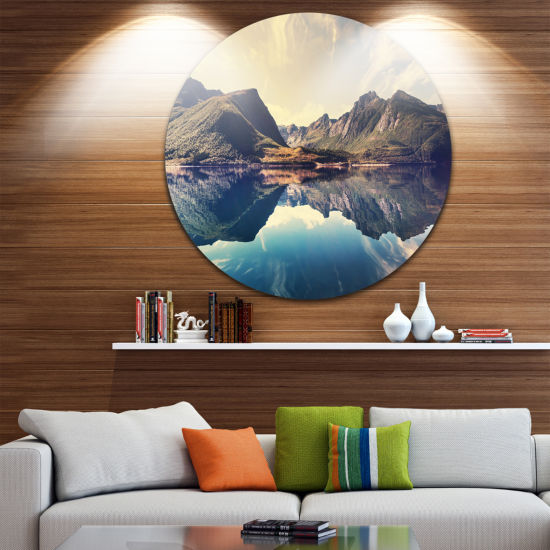 Design Art Norway Summer Mountains Disc LandscapePhotography Circle Metal Wall Art