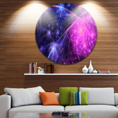 Design Art Purple Pink Colorful Fireworks AbstractArt on Round Circle Metal Wall Decor Panel