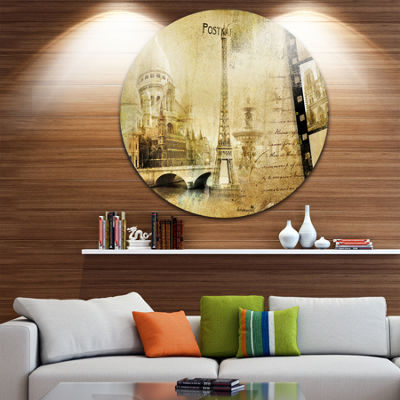 Design Art Paris Memories Disc Vintage Circle Metal Wall Art