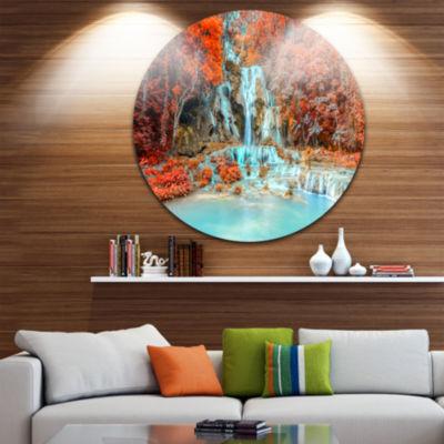 Design Art Rainforest Waterfall Loas Disc Landscape Photography Circle Metal Wall Art