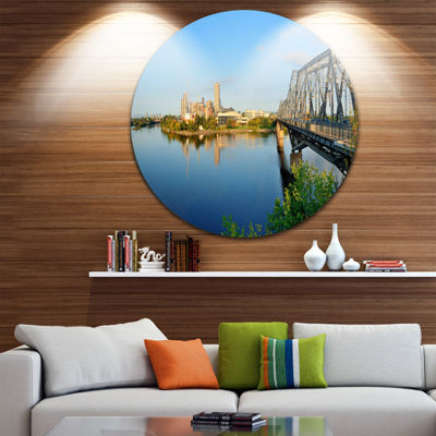 Design Art Ottawa Morning Panorama Disc CityscapePhoto Circle Metal Wall Art