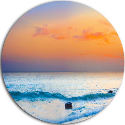Design Art Orange Sunset Panorama Disc PhotographyCircle Metal Wall Art