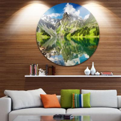 Design Art Reflecting Mountain Lake Landscape Metal Circle Wall Art