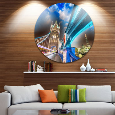 Design Art Night over Tower Bridge in London DiscCityscape Photo Circle Metal Wall Art
