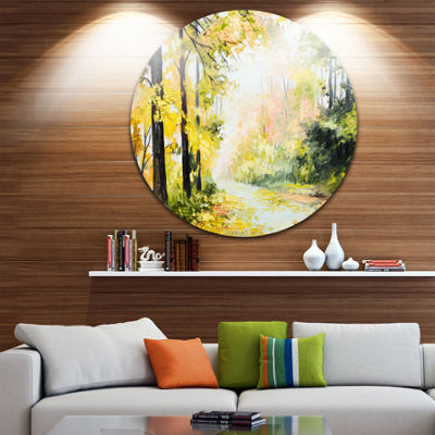 Design Art Road in Colorful Forest Landscape MetalCircle Wall Art