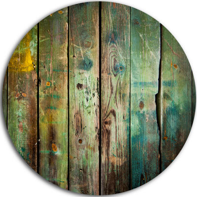 Design Art Old Wood Pattern Disc Contemporary Circle Metal Wall Art