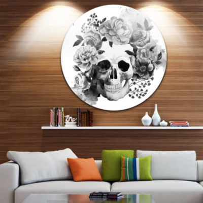 Design Art Peony Watercolor Skull Disc Abstract Circle Metal Wall Art