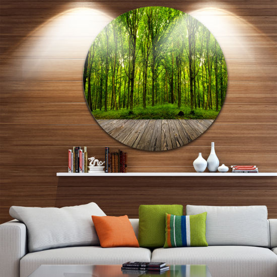 Design Art Room Interior in Forest Disc LandscapeCircle Metal Wall Art